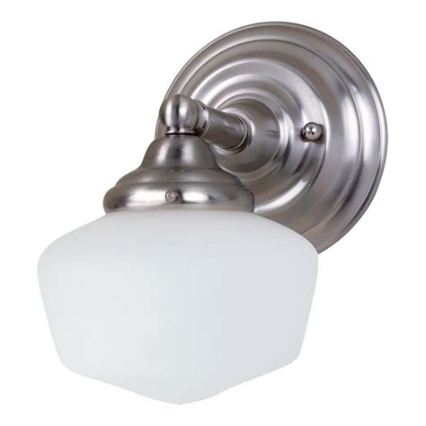 Schoolhouse Bathroom Light Schoolhouse Sconce Wall Light With White Glass In Brushed Nickel Finish 44436 962