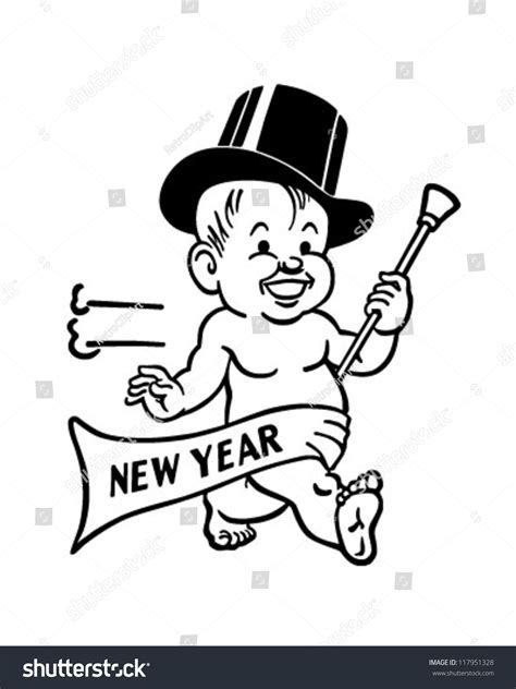 new year baby song new years baby retro clipart illustration stock vector