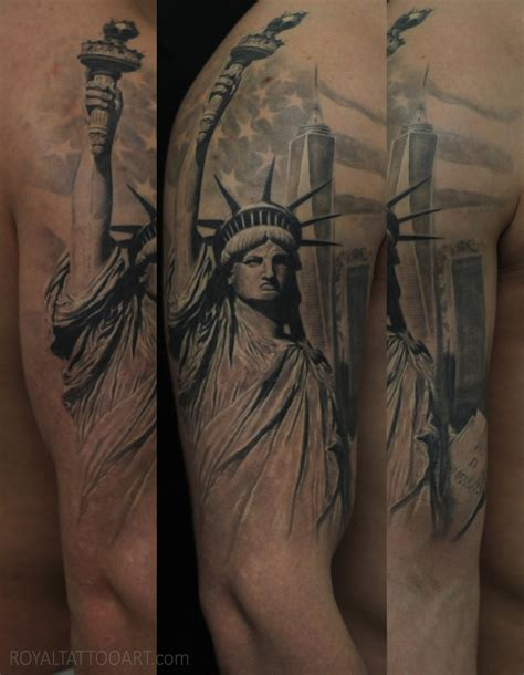 royal tattoo statue of liberty with american flag www pixshark