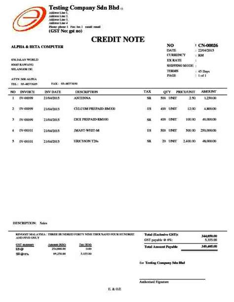 Credit Note Gst Format Alpine Tech Sales Credit Note