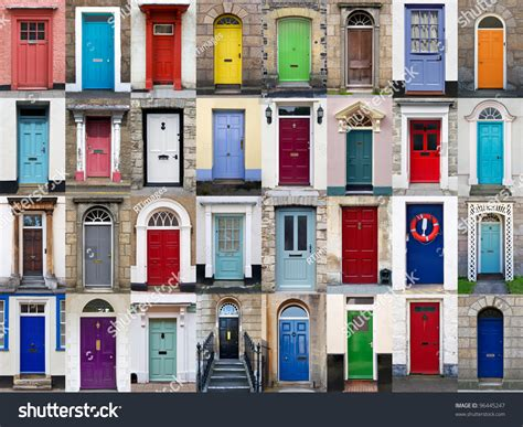 colorful doors collage stock photo image 41305174 photo collage 32 colourful front doors stock photo