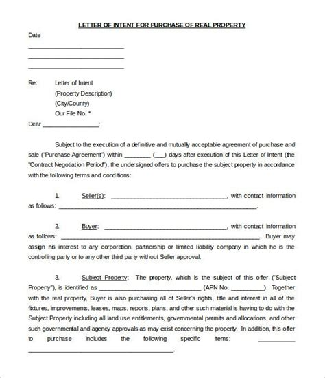 purchase letter intent templates