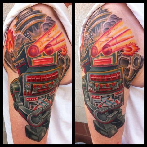 New School Robot Tattoo | vintage robot color tattoo by phil robertson tattoonow