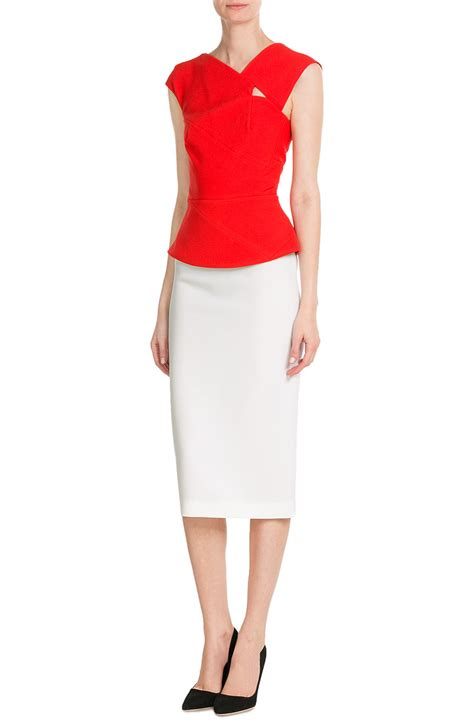 roland mouret wool crepe pencil skirt