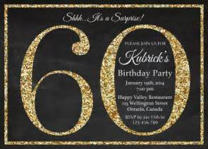 60th birthday invitation gold glitter birthday invite birthday