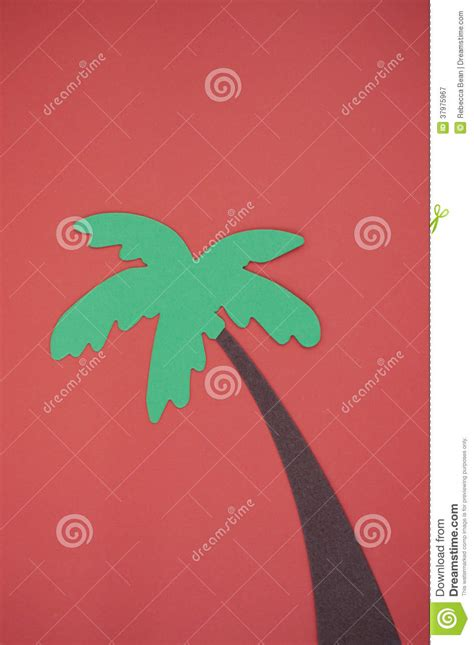 A Palm Tree Out Of Paper - palm tree cut out on bright construction paper royalty
