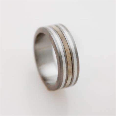 Mens wood Wedding Band with Titanium Ring silver inlay