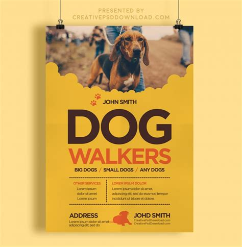 Creative Dog Walkers Flyer Template Creativepsddownload Walking Business Flyer Template