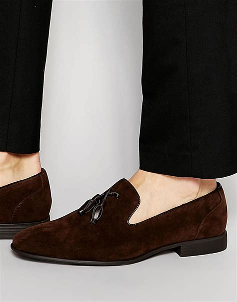 tassel loafers suede asos tassel loafers in brown faux suede in brown for