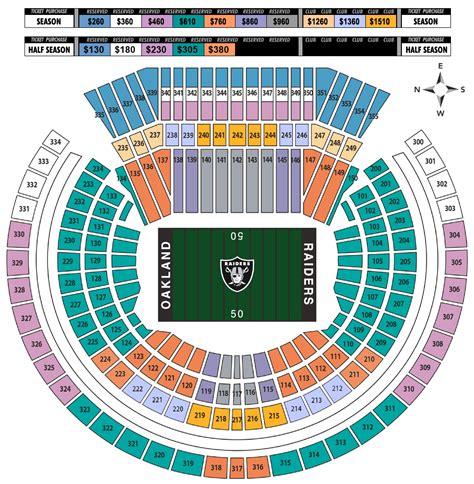 raiders seating chart o co coliseum oakland raiders football stadium stadiums