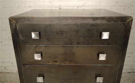 Metal Dressers For Sale by Industrial Metal High Boy Dresser By Simmons For Sale At