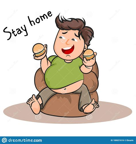 young man cute cartoon stay home vector concept stock