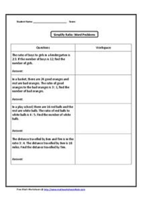 Simplifying Ratios Worksheet by Simplify Ratio Word Problems Worksheet For 4th 6th