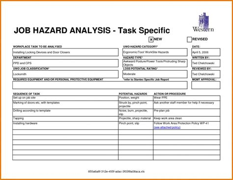 Job Hazard Analysis Form Template Business Safety Analysis Template
