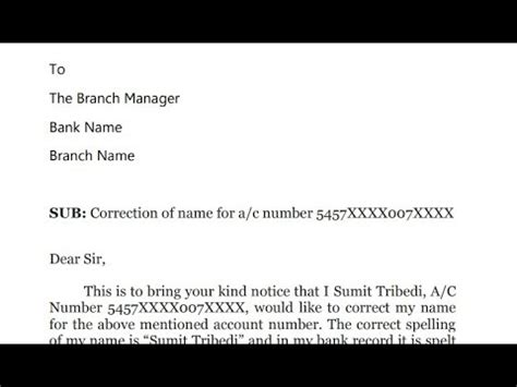 application letter bank correction name how to write application to bank manager for name spelling