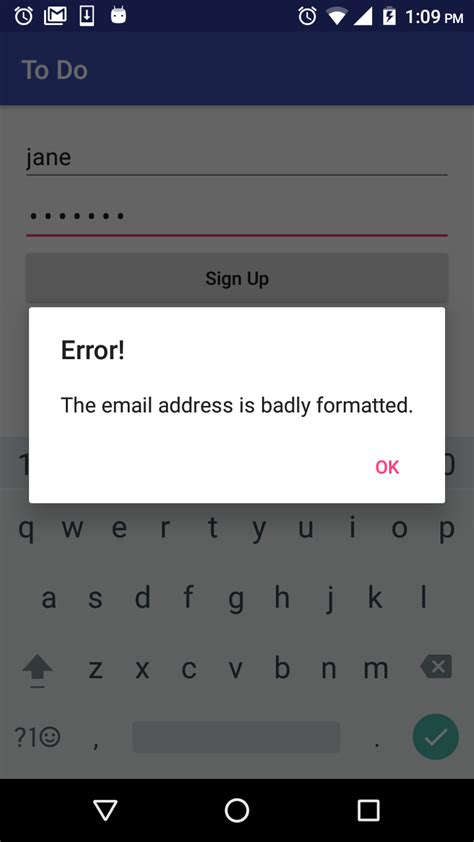 email format validation in android authentication android backend
