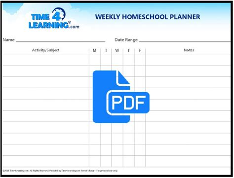 homeschool lesson planner pdf free printable weekly homeschool planner time4learning