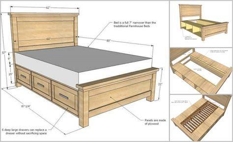 farmhouse bed plans diy farmhouse storage bed with storage drawers