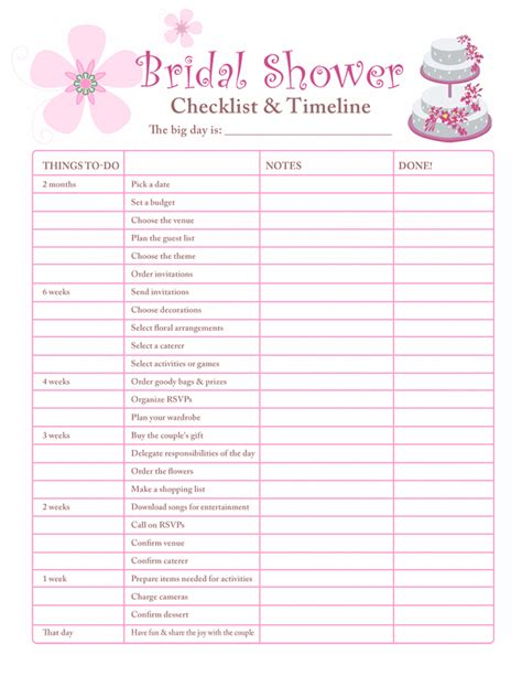 bridal shower planning checklist free printable coloring