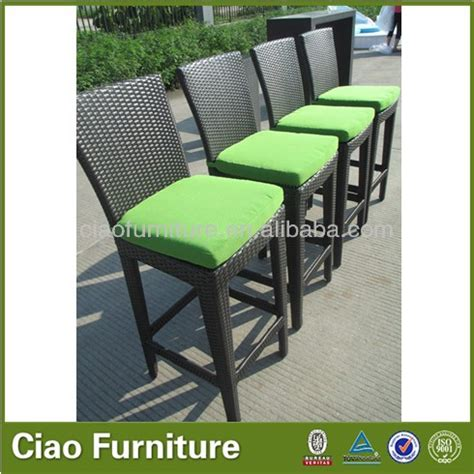 outdoor wicker bar stools with backs rattan wicker outdoor bar stool high back rattan bar