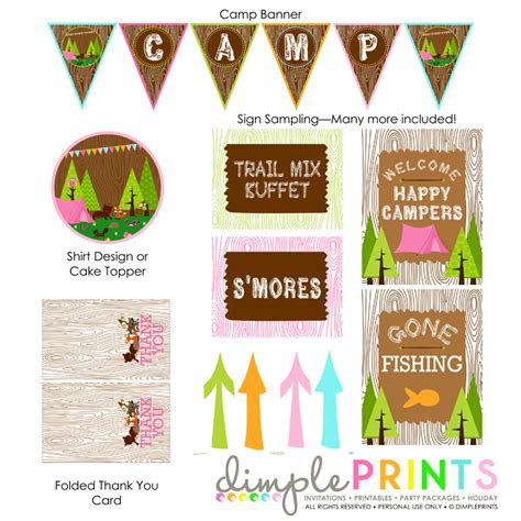 Woodland Camping Girl Printable Party Package   Dimple
