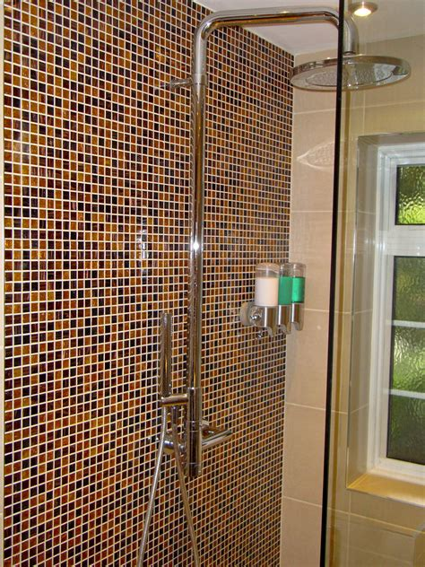 mosaic bathroom decor brown ceramic shower box wall with decorative mosaic glass