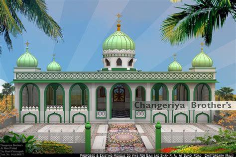 masjid exterior design mosque 3d modling project for gaji bad shah r a
