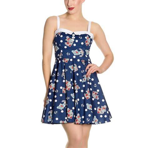 49100 Bunny Mini Dress Hodie hell bunny navy blue 50s nautical mini dress oceana polka dot all sizes
