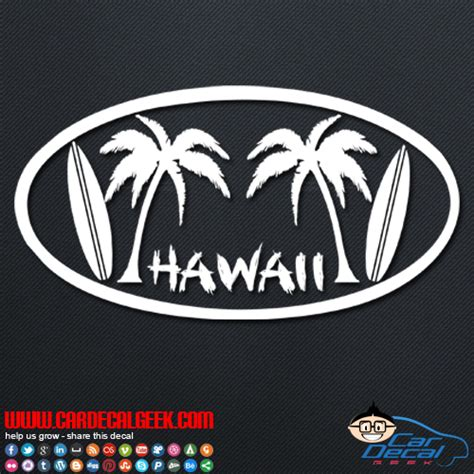 Auto Sticker Hawaii by Hawaii Palm Trees Surfboards Car Window Vinyl Decal Sticker
