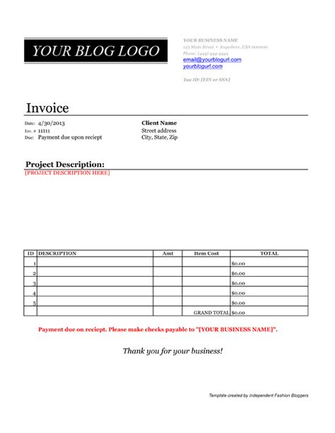 get paid invoice template for your blogger services
