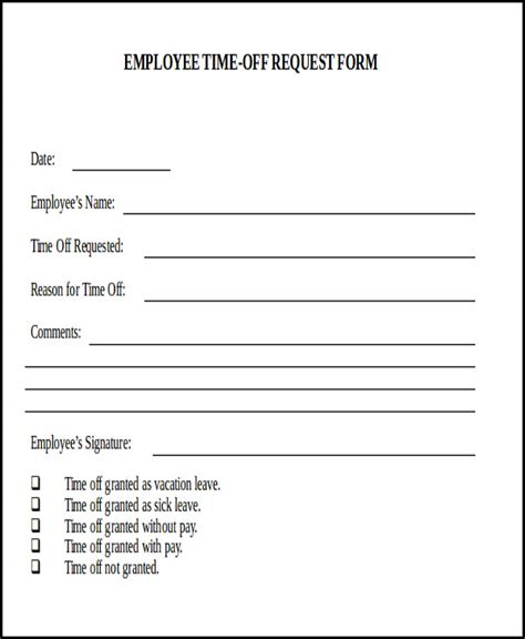 vacation request template sle day request form 7 exles in word pdf