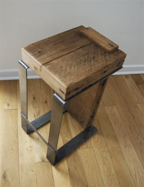 Contemporary Handmade Furniture - rustic barstool reclaimed wood bar stool industrial bar