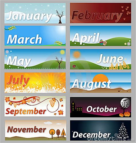 Banner Months Of The Year Set Royalty Free Stock Photo   Image: 12958705