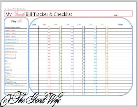 The Good Wife New Budget Worksheet Bill Tracker And Checklist Free Bill Payment Checklist Template