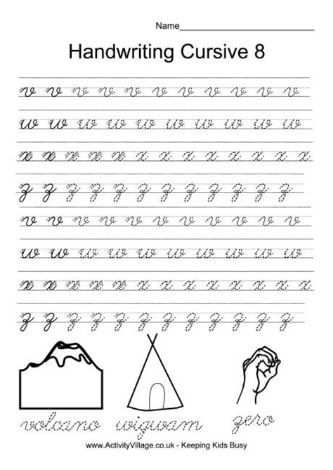printable worksheets cursive writing handwriting practice cursive 8 smart kids printables