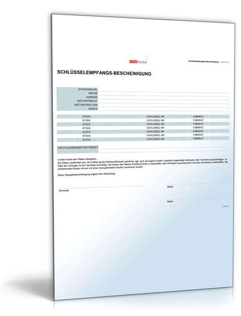 schl 252 ssel empfangsbescheinigung muster zum