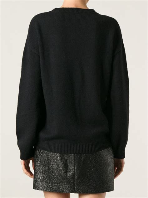 boutique moschino embroidered patch sweater in black lyst