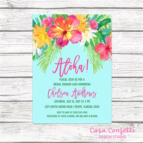Hawaiian Theme Wedding Invitation To Email by Luau Bridal Shower Invitation Tropical Invi With Luau