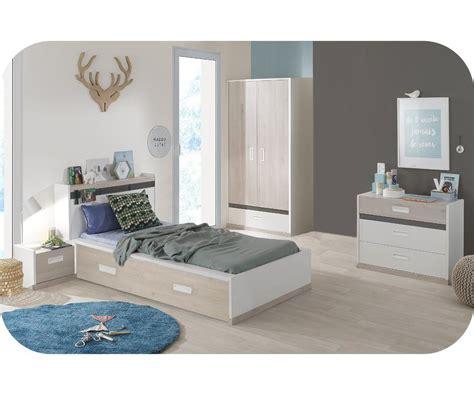 chambre enfant il 233 o blanche et bois set de 5 meubles