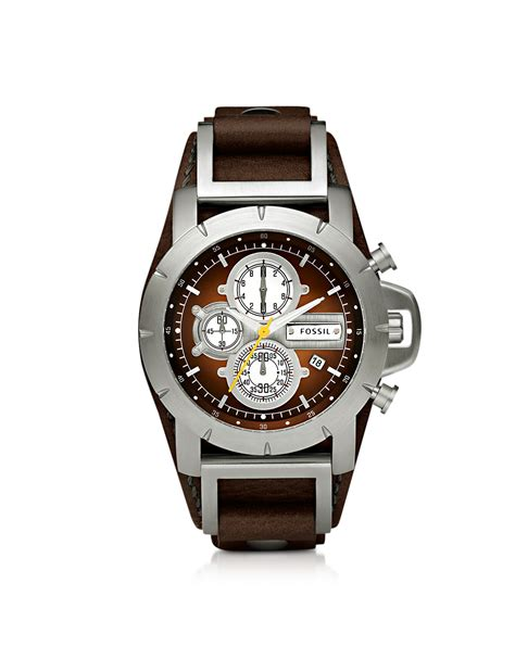 Fossil Wacth fossil jake chronograph brown leather mens in brown for lyst