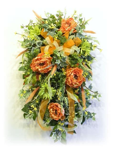 silk floral door swag tangerine green  yellow  www