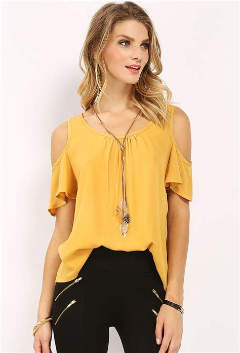 Blouse Out Sholder cut out shoulder top w necklace shop blouse shirts at