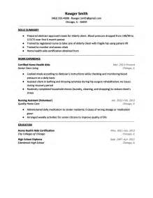 Sle Resume Of Health Care Aide Home Aide Sle Resume Resume Sles For Cna