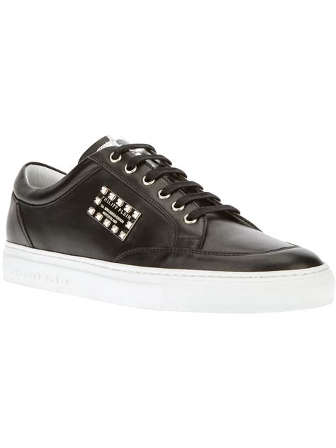 philipp plein sneakers lyst philipp plein studded plaque sneaker in black for