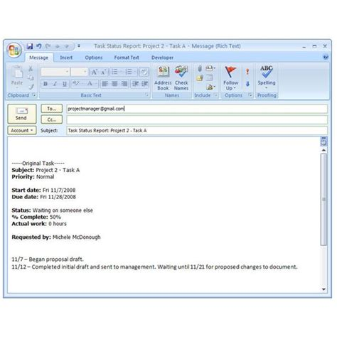 status report email sle how to create a status report for a task in microsoft