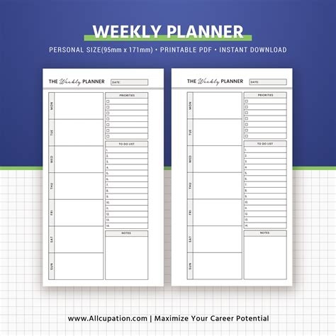 printable planner refills planner bundle printable personal size inserts daily