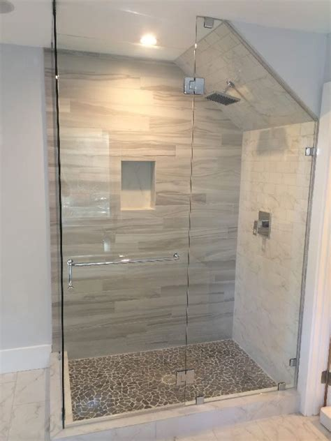 tub and shower surround quickview we put in a shower in glass enclosure with angled ceiling patriot glass and