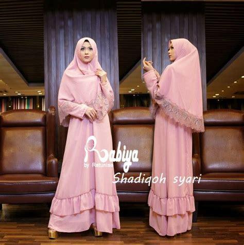 Syari Bordir Ceruty Pink shadiqoh syar i pink baju muslim gamis modern