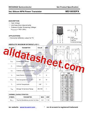 transistor horizontal md 1803 md1803dfx datasheet pdf inchange semiconductor company limited