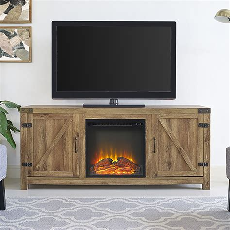 Barn Door Tv Stand White 58 Quot Barn Door Fireplace Tv Stand Barnwood